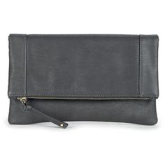 Sole Societymarlena Vegan Foldover Clutch ($40) ❤ liked on Polyvore featuring bags, handbags, clutches, grey, faux leather purse, faux leather handbags, grey purse, fold over purse and foldover handbags