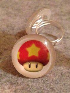 Rings ~ Toadstool Star Face ~ Domed Glass ~ Adjustable ring ~ 25mm ~ Mario Star Mushroom Fungi by Nerdacious on Etsy