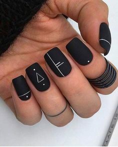 59 Black Square Acrylic Nails Designs Inspirations - Page 19 of 59 - Top Nails Art French Acrylic Nails, Square Acrylic Nails, Best Acrylic Nails, Acrylic Art, Black Nail Designs, Acrylic Nail Designs, Nail Art Designs, Stylish Nails, Trendy Nails