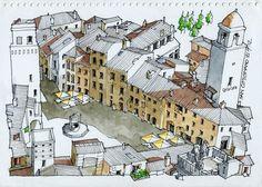 JR Sketches: Italia 3º Set 2012. 17x24, Pen & Watercolor
