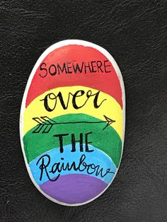 Wizard of Oz somewhere over the rainbow rock painting hand