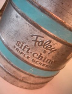 Three Vintage 1940's Sifters, Two Aqua Blue Foley Sift-Chines and One No Brand