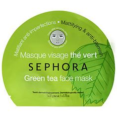 Face Mask - SEPHORA COLLECTION $6 Green Tea Face Mask: Mattifies and purifies to soothe skin, minimize shine, and reduce the appearance of outbreaks