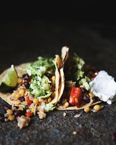 // Black Bean, Bulgur, and Lentil Tacos