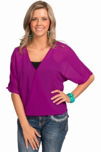 Karlie Women's Magenta Chiffon Wrap Front Top | Cavender's