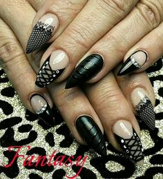 Black lace and corset with fantasy hard gel @ Eligirlbeauty.com luxury hard gel system
