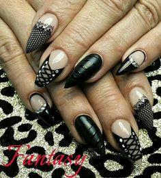 Black lace and corset with fantasy hard gel @ Eligirlbeauty.com luxury hard gel system