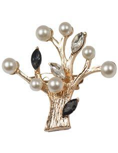 Faux Pearl Rhinestone Tree Brooch Pin - Gold