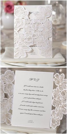 elegant flower shaped laser cut wedding invitations