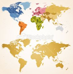 A high detail political vector map of the whole world with a vintage colors hi detail continent world map royalty free stock vector art illustration gumiabroncs Images