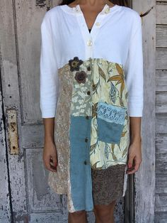 Romantic/Tattered/Rustic/Boho/Gypsy dress-open option upper part is made cotton/ramie and has buttons along front lower part is made with a variety of panels and has buttons along front, crochet flowers and pocket along front Size-small medium chest-44 has stretch hips-44 length-35