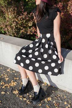 In the Spotlight Skirt | Idol Collective, cute midi polka dot skirt, Japanese fashion inspired, Asian fashion inspired