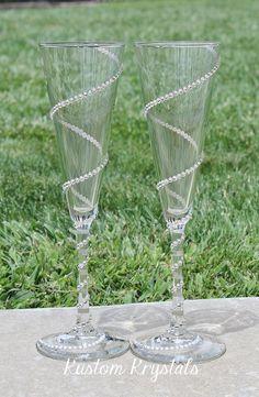 Swarovski Crystal embellished Trumpet Flutes toasting flutes, toasting glasses, champagne flutes with krystalized SPIRAL design.