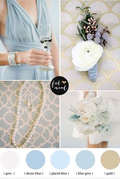 Azul cielo y Dorado http://fabmood.com/dusty-blue-and-gold-wedding/