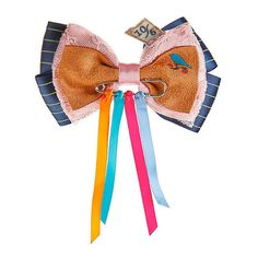 Disney Alice Through The Looking Mad Hatter Cosplay Bow Hot Topic ($7.87) ❤ liked on Polyvore featuring accessories, hair accessories, barrette hair clip, disney, hair clip accessories, disney hair accessories and hair bow accessories