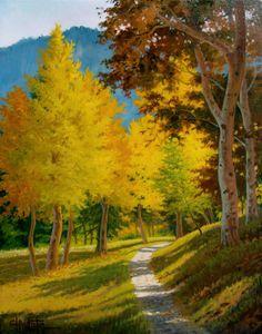 "Charles White (b.1943) — ""Big Basin Trail"" #landscape #tree #art"
