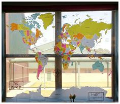 Multipurpose classroom! Shower Curtain Map turned into an amazing learn tool! 6th grade social studies, world cultures, geography