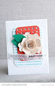 handmade happy card ... white on white stenciled chevron background ... layers of pretty die cuts topped with a rolled and layered flower from die cuts ... great card!
