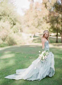 Blue wedding gown via Wedding Sparrow Pastel Wedding Dresses, Blue Wedding Gowns, Wedding Attire, Wedding Colors, Blue Bridal, Wedding Blush, Gown Wedding, Bridal Gown, Bridal Hair