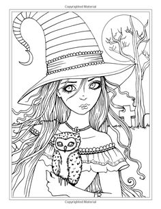 Halloween Coloring Pages Adult Elegant Autumn Fantasy Coloring Book Halloween Witches Vampires Witch Coloring Pages, Halloween Coloring Pages, Printable Adult Coloring Pages, Doodle Coloring, Coloring Pages To Print, Coloring Pages For Kids, Coloring Books, Coloring Sheets, Etiquette Vintage