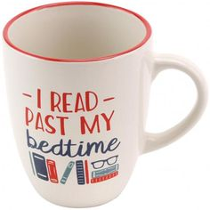 Sorry day job, sorry school; we just don't care! This loud and proud mug features the phrase 'I read past my bedtime' on the front, and is perfect for strong coffee. Mug measures x x Comes in a box. Past My Bedtime, Literary Gifts, Mug Cup, Book Lovers, Stoneware, Mugs, Reading, Tableware, Books