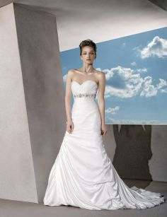 A-line satin sleeveless bridal gown with floor-length