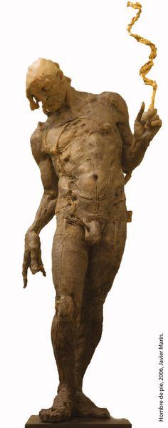 brown - man - figurative painting - Javier Marín - CORPUS. La belleza de lo imperfecto