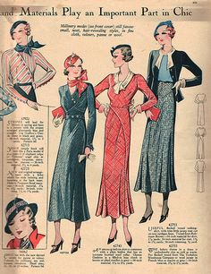 Daywear ideas from Weldon's Ladies Journal, April 1933. #vintage #1930s #fashion #illustrations