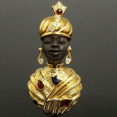 Iron Coffee Table, Brooch Pin, 18k Gold, Charms, Enamel, African, Statue, Free Shipping, Diamond