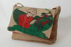 Costa Rica Coffee Bean Burlap Messenger Bag Laptop by pompompurses, $50.00