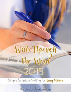 Get into God's Word in the New Year! Write Through the Word is a simple, effective Scripture study and journaling method designed to help you hide God's Word in your heart in a way that sticks, even if you don't have a lot of time for a Bible study each day. Busy women in every stage of life can get fit the Bible into their lives, even on the craziest days!
