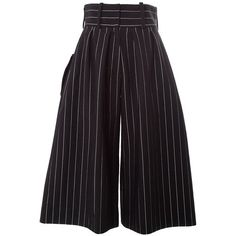 J.W.ANDERSON Striped wide-leg culottes ($654) ❤ liked on Polyvore featuring pants, black, j.w. anderson, high-waisted wide leg pants, high-waisted pants, high waisted striped pants and wide leg pants