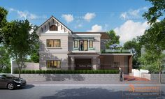 Thiết kế biệt thự vườn 2 tầng mái thái trên đất 12x26m