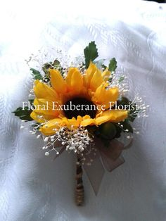Silk Sunflower wedding buttonhole/Corsage Rustic by FloralBlooms