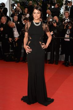 Pin for Later: The Very Best Style Moments From Last Year's Cannes Red Carpet Michelle Rodriguez Michelle stuck to her all-black streak in a gorgeous sheer-panel gown with lace cap sleeves. She added standout diamond jewelry.
