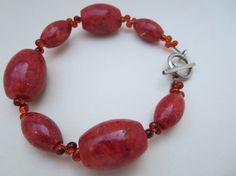Red Coral Gemstone Beadwork Bracelet Autumn Red by KBrownJewellery, £20.00