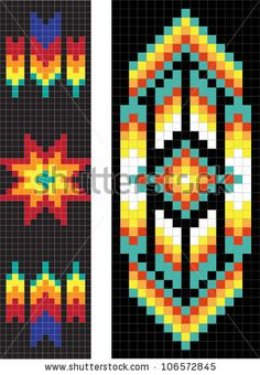 Similar Images, Stock Photos & Vectors of Traditional native American pattern, vector illustration - 101559616 Native Beading Patterns, Native Beadwork, Indian Patterns, Native American Beadwork, Beaded Bracelet Patterns, Beaded Jewelry, Bead Loom Designs, Beadwork Designs, Bead Loom Patterns