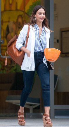 Jessica Alba wearing Hermes Spring 2011 Wedges, Jimmy Choo Rebel Cross Body Bag and Rails Rocsi Shirt in Marina/White Stripe