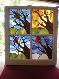The Four Seasons in Stained Glass Free Shipping by VFSGlass, $300.00