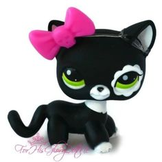 Littlest Pet Shop #2249 LPS Black White Tabby Kitty Cat✵Flower Green Eyes Blythe