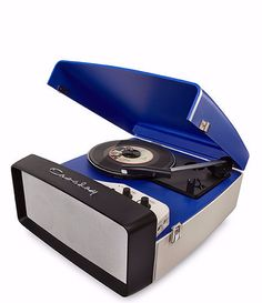 Collegiate Portable USB Turntable - Blue + [ Bonus Spotlight LP Included ] #shopifypicks