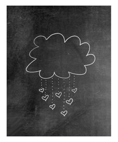 Raining Love Chalkboard Print