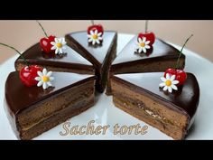 컵 계량 / 오스트리아 전통 케이크 자허 토르테 / Sacher Torte Austrian Chocolate Cake Recipe / ASMR / Easy Recipe - YouTube Tasty Chocolate Cake, Chocolate Recipes, Food Cakes, Cupcake Cakes, Sweet Recipes, Cake Recipes, Chocolates, Cake Cover, Party Desserts