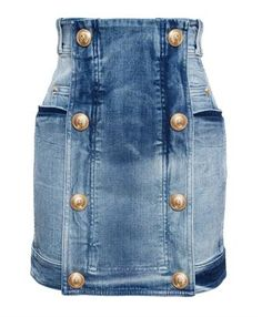BALMAIN - Denim Mini Skirt