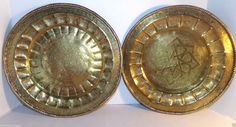 "Vintage Brass Plates Decorative Wall Hanging 12.5""  Set of 2"