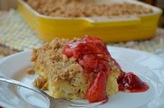 French Toast Strata with Strawberry Sauce