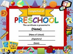 Free Certificate Templates | Templates Certificates Preschool Completion Certificate Academic Award ...