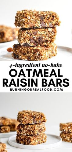 These delicious, no-bake bars taste like an oatmeal raisin chocolate chip cookie but are vegan, oil-free, nut-free and easy to make in minutes!