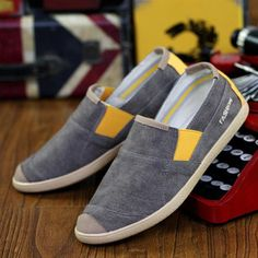 Color Mix Canvas Toe Protecting Lazy Casual Slip On Flat Loafers For Men - Gchoic.com