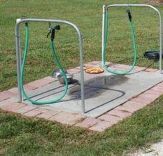 Bloody genius idea! Outdoor dog wash!